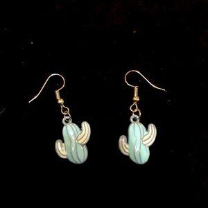 Blue cactus enamel earrings